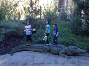 The kids outside of the reptile lair.
