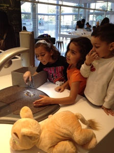 Under a microscope in the new discovery center.